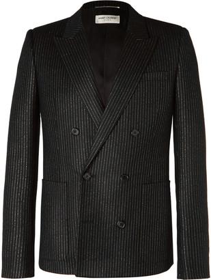 Saint Laurent Black Double-Breasted Metallic Pinstriped Wool-Blend Blazer