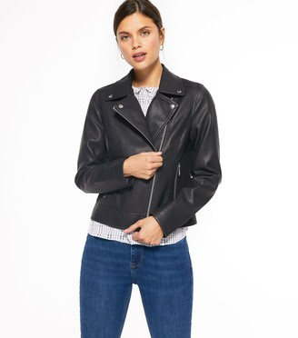 New Look Coated Leather-Look Biker Jacket