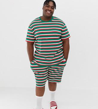 Asos DESIGN Plus Holidays short pyjama set in festive stripes