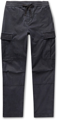 Officine Generale Navy Jay Tapered Garment-Dyed Lyocell-Blend Twill Drawstring Cargo Trousers - Men - Blue