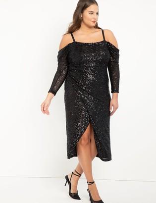 ELOQUII Off The Shoulder Sequin Midi Dress