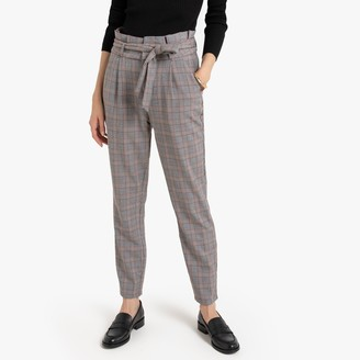"""Vero Moda Checked Trousers with Elasticated Waist, Length 30"""""""