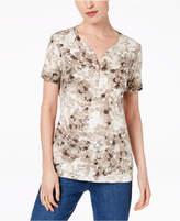 Karen Scott Printed Henley T-Shirt, Created for Macy's