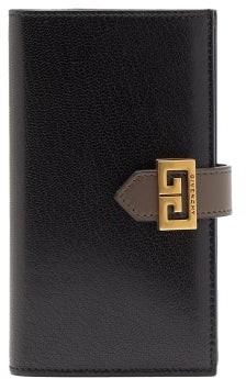 Givenchy Gv3 Logo-buckle Leather Bi-fold Wallet - Black Grey
