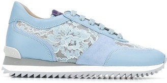 Le Silla Floral Lace Panel Sneakers