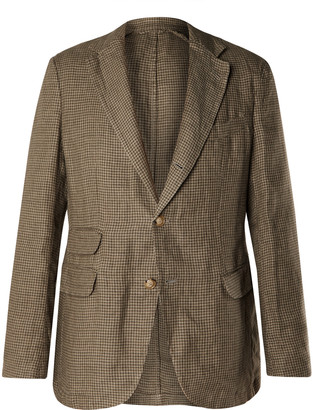 Man 1924 Kennedy Slim-Fit Unstructured Herringbone Cotton And Linen-Blend Blazer