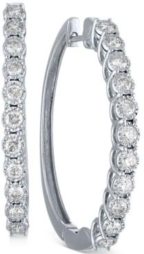 "Macy's Diamond Medium Hoop Earrings (1 ct. t.w.) in 10k White Gold, 1.5"""