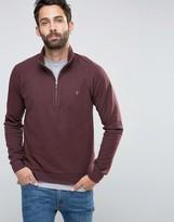 Farah Sweatshirt With 1/4 Zip In Regular Fit Port