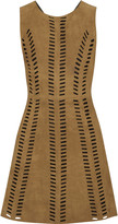 Maje Rigolette perforated-paneled suede mini dress