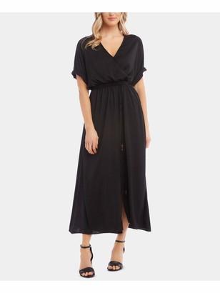 Karen Kane Womens Black Solid Short Sleeve V Neck Tea-Length Trapeze Dress UK Size: L