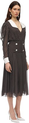 Polka Dot Chiffon Midi Dress