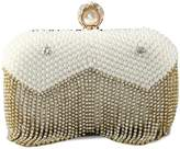 Kingluck Women's Luxury Fringe Diamond with pearl Party/Evening Bag (white)