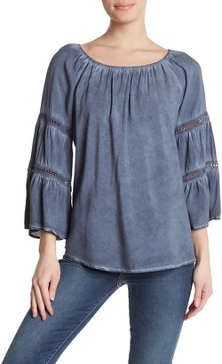 Spense Washed Bell Sleeve Scoop Neck Blouse
