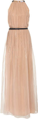 Brunello Cucinelli Belted Sequined Silk-Chiffon Maxi Dress