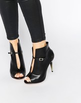 Little Mistress Garbo Peep Toe Heeled Ankle Boots