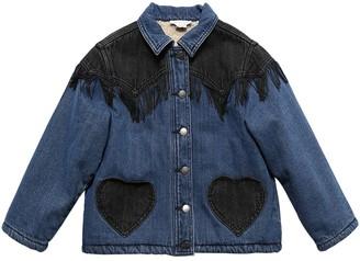 Stella McCartney Kids Stretch Denim & Teddy Jacket W/ Fringes