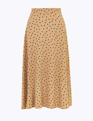M&S CollectionMarks and Spencer Polka Dot Fit & Flare Midi Skirt