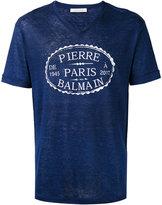 Pierre Balmain V-neck logo print T-shirt - men - Linen/Flax - 52