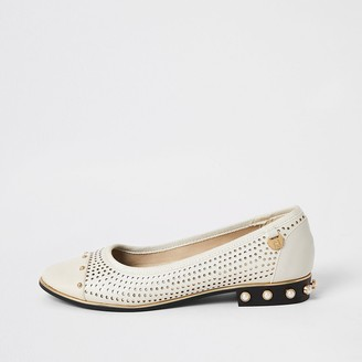 River Island Cream perforated studded ballet shoes