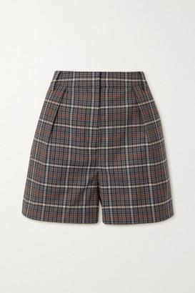 Tibi Gabe Pleated Checked Woven Shorts - Gray