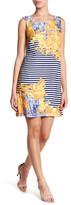 Sangria DPBKVAVV Scoop Neck Floral Stripe Short Dress