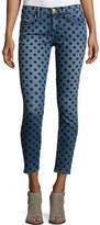 Current/Elliott The Stiletto Skinny Jeans w/Flocked Dots, Navy