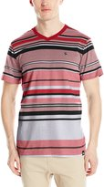 Southpole Men's Stripe V-Neck Tee with Pin Enginee Irregular Stripes