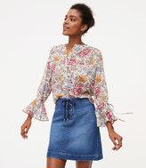 LOFT Petite Lace Up Denim Skirt