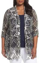 Nic+Zoe Plus Size Women's Mountain Dreams Lightweight Linen Blend Cardigan