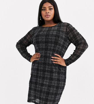 Junarose sheer check mesh dress with slip