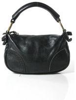 Miu Miu Black Leather Stitching Detail Brass Tone Hardware Baguette Handbag