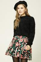 Forever 21 Pleated Embroidered Mini Skirt