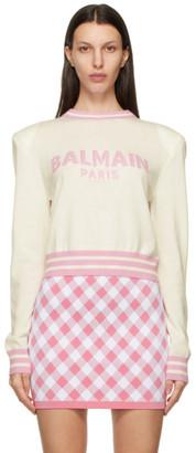 Balmain White Wool Cropped Sweater