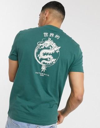 ASOS DESIGN organic cotton t-shirt with dragon back print in green