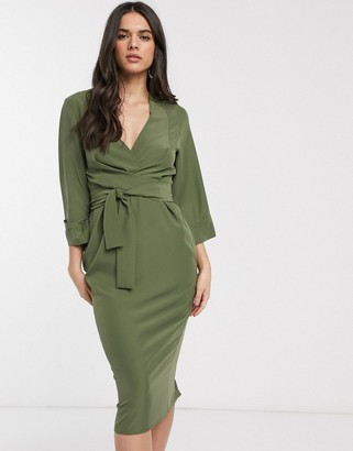 ASOS DESIGN kimono sleeve v neck midi pencil dress in khaki