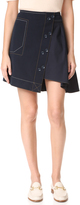 Derek Lam 10 Crosby A-Line Skirt with Poplin Combo