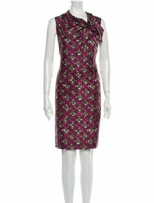 Oscar de la Renta Printed Knee-Length Dress Purple