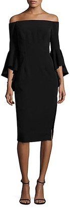 Milly Selena Italian Cady Bell Sleeve Dress