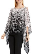 Vince Camuto Shadow Textures Printed Poncho Top