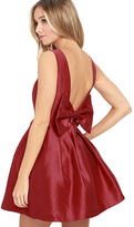 LuLu*s Bow Me a Kiss Wine Red Backless Dress