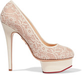 Charlotte Olympia Polly lace and leather pumps