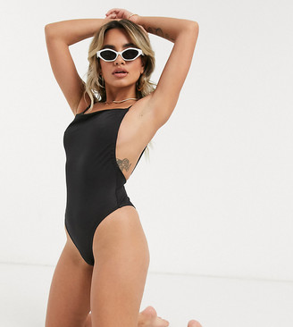 ASOS DESIGN petite recycled ruched skinny tie back swimsuit in black