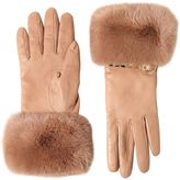 Valentino Rockstud Leather & Rabbit Fur Gloves