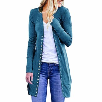 Toamen Women's Coat Toamen Womens Sweater Cardigan Casual Long Sleeve Solid Button Outerwear Coat Plus Loose Drape(Blue 16)