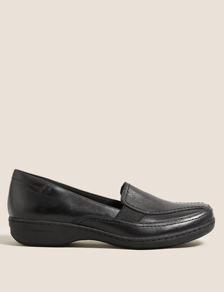 Marks and Spencer Wide Fit Leather Wedge Loafers