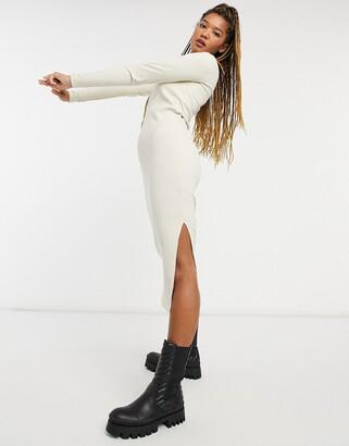 Monki Emma organic blend cotton rib square neck midi dress in beige