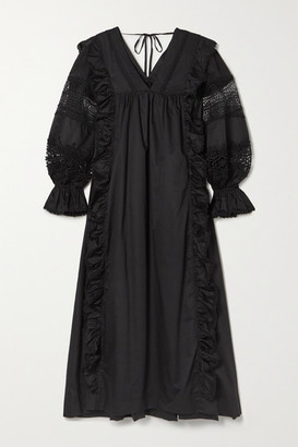Lug Von Siga - Carla Crochet-trimmed Cotton-poplin Midi Dress - Black