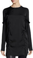DKNY Long-Sleeve Stretch Silk Tunic, Black