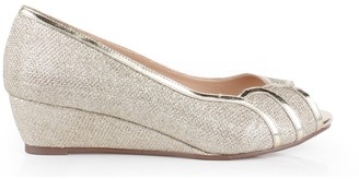 Paradox London Glitter Mesh Juno Wide Fit Low Wedge Peep Toe