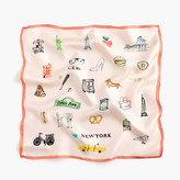 "J.Crew Italian silk square scarf in ""New York"" print"
